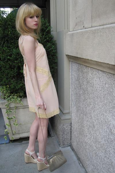 light pink lace Kimchi Blue dress - silver mesh vintage bag