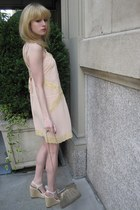 light pink lace Kimchi Blue dress - silver mesh vintage bag