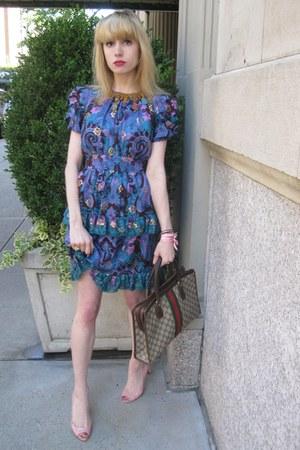 blue paisley Anna Sui dress - dark khaki logo Vintage Gucci bag