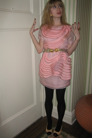 31 phillip lim dress - Vintage costume earrings - tights - Chanel shoes