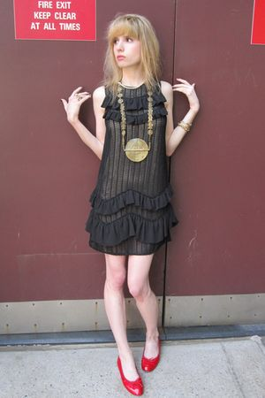 gold fish vintage necklace - black netted 31 phillip lim dress