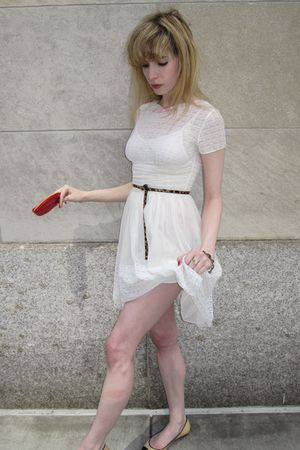 white vintage dress - red lip shoes - beige leather Chanel shoes