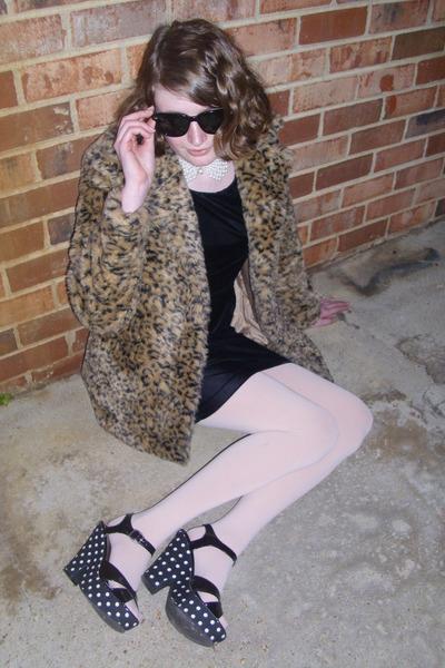 light brown leopard print Flying Tomato jacket - black velvet vintage dress