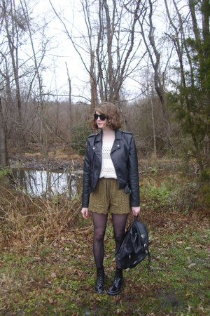 black faux leather Marshalls jacket - cream knit Forever 21 sweater