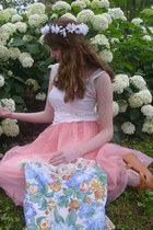 bubble gum tutu romwe skirt - sky blue floral DIY bag - white tank vintage top