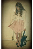 white vintage blouse - light pink romwe dress - black tote Whimsy Bags bag