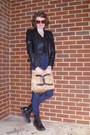 Camel-faux-chanel-diy-bag-black-combat-target-boots-navy-high-rise-bdg-jeans