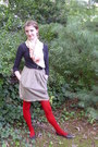 Red-delias-tights-olive-green-vintage-dkny-skirt