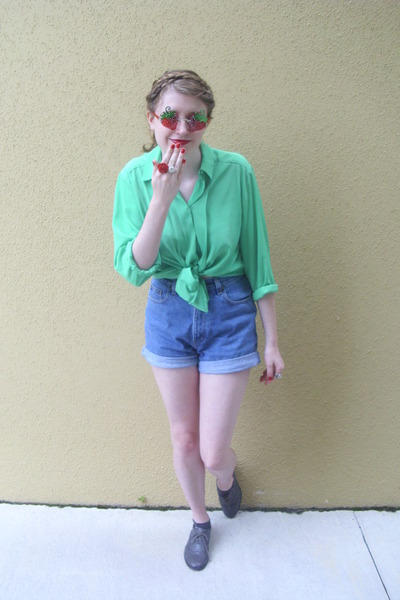 chartreuse vintage blouse - navy denim thrifted shorts