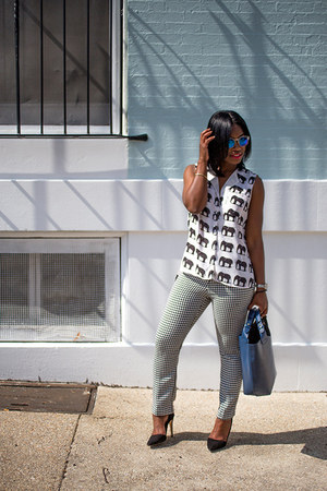 Oppa blouse - Zara bag - H&M sunglasses - JCPenney pants - Alice  Olivia pumps