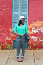 alloy hat - J Crew shirt - asos bag - Pour La Victoire sandals - Caslon pants