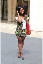 army surplus jacket - Michael Kors bag - UO shorts - Schutz sandals