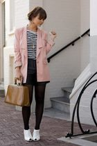 Vero Moda blazer - Ebay shoes - H&M tights - Vintage leather shorts
