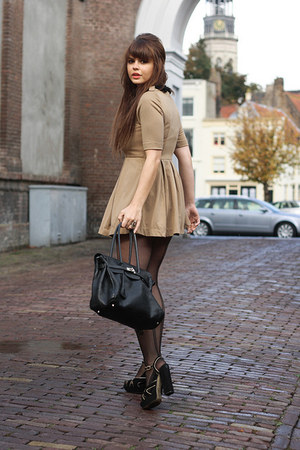 romwe dress - romwe tights - Topshop sandals