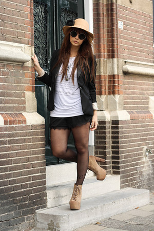 Jeffrey Campbell boots - romwe tights - Topshop shorts - theorphansarms t-shirt