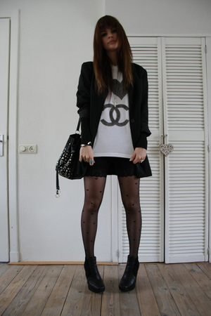 DIY shirt - sam edelman boots - Topshop tights - Topshop shorts