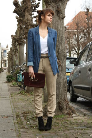 Zara pants - Zara shoes - Zara blazer - vintage bag