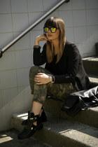 camouflage 40weft pants - cut out balenciaga boots - blazer - Celine bag