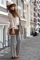 vintage blazer - vintage pants - Varela del Mar purse - vintage hat - H&M top