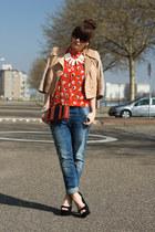 Love shirt - Fornarina jeans - H&M Trend jacket - Lapalette bag