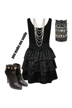 black skirt - boots - necklace - bracelet