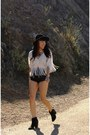 Leather-vintage-shorts-wide-brim-hat-fringe-smith-blouse