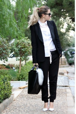 black Zara blazer - white H&M shirt - black Zara bag - black Zara pants