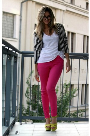 hot pink Zara jeans - H&amp;M blazer - yellow Zara heels