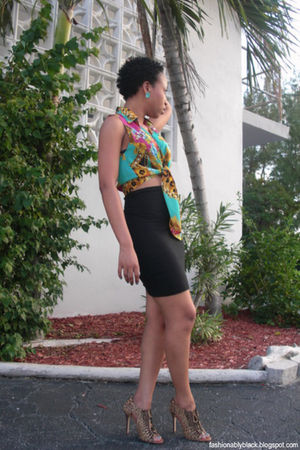 black skirt - blue shirt - brown shoes