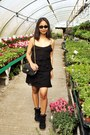 Black-ruffle-mango-dress-black-doubleflap-chanel-bag-black-dior-sunglasses