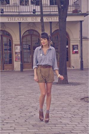 blue Zara shirt - brown Zara shoes - green Zara shorts
