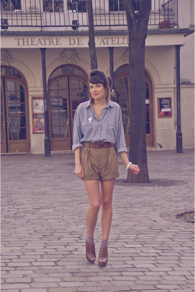 blue Zara shirt - brown Zara shoes - green Zara shorts