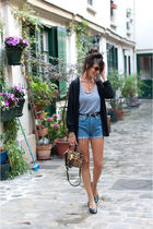 blue vintage shorts - blue vintage shoes - beige Topshop bag