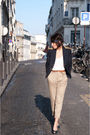 blue circus & co jacket - blue vintage shoes - beige Zara pants