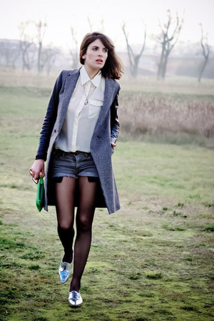 black Zara coat - ivory H&amp;M shirt - teal les composantes bag
