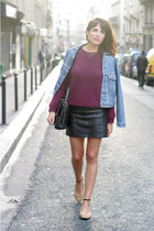 black Zara skirt - sky blue vintage jacket - magenta H&M jumper