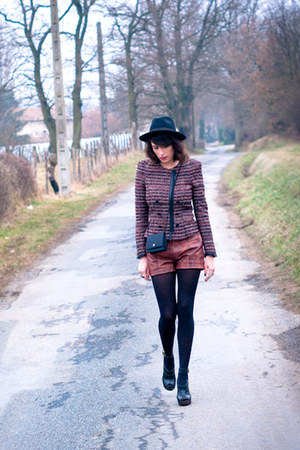 black vintage hat - brick red Zara jacket - tawny Zara shorts - black Topshop he