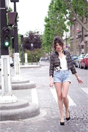 black hoss intropia jacket - light blue Levis shorts - black new look heels