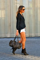 black Zara boots - black BLANCO shirt - bronze Purificacion Garcia bag