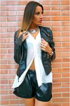 black Zara jacket - white H&M shirt - black StaffbyMaff shorts