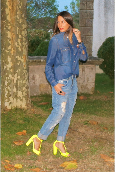 light blue Zara jeans - blue BLANCO shirt - yellow Zara sandals