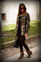 black Parfois bag - brown Zara boots - olive green vintage jacket
