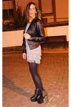 H&M dress - Jeffrey Campbell boots - leather Zara jacket - hazel earrings