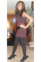 dark brown ami clubwear dress - black Discovery tights - black Bamboo shoes - bl