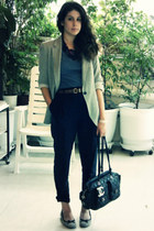 Zara pants - Zara t-shirt - Zara blazer - necklace - necklace - vagabond