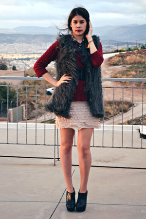 fur Zara vest - ankle boots Zara boots - ruffled Zara dress