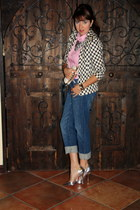 silver Shoe Dazzle heels - blue boyfriend cut Newport News jeans