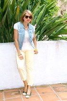 light blue denim Forever 21 vest - light yellow cropped cotton J Crew pants