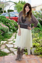tan knit Forever 21 tights - tan tank H&M top - off white midi tulle romwe skirt