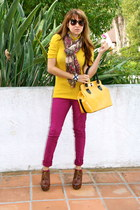 brown Forever 21 boots - magenta Forever 21 jeans